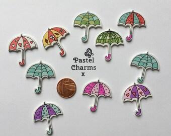 Pack of 5 mixed pretty wooden umbrellas  embellishments