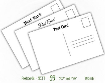 """Postcards Back - 4x6"""" and 5x7"""" - Digital Collage Sheet Layered Template - (T099)"""