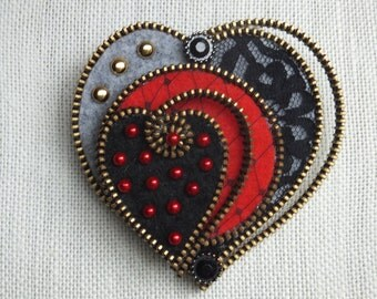 Zipper Heart, Red, Black and Grey with Lace, One of a Kind