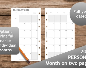 2017 Month on two pages, Month planner calendar, Printable planner inserts personal, Calendar, booklet, Filofax calendar, kikki.K, grayscale