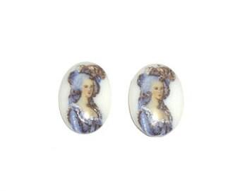 Glass Lady Cabochons, 18x13 mm, 2 pcs