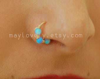 Silver 3mm Opal Nose Ring Hoop, Helix Earring, Tragus Ring, gold Cartilage Hoop, Daith Ring, Rook Earring, Tragus Earring