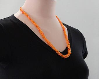 Tangerine Necklace Orange Knitted Beaded Necklace Tangerine Orange Skinny Rope Necklace For Teacher Necklace For Mom Necklace For Teen