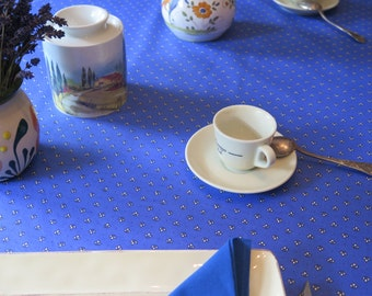 Rectangular oilcloth tablecloth, cotton coated, Fabric from Provence,France. all over in blue and in yellow choose the color!