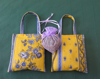 Lavender hanger sachets .Set of 3 sachets.Fabric from Provence, France.little flowers in yellow.Gift for her.