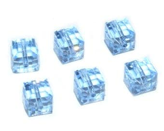 Swarovski Crystal Elements Cube Faceted 6mm Light Sapphire Beads 5601