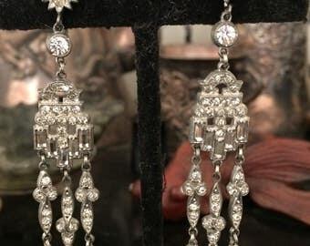 French paste dramatic dangly drop earrings deco era