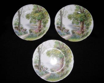 "Shelley Woodland 6"" Plates # 13348 England, Set of 3"