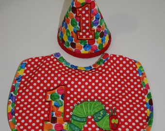 Hungry Caterpillar First Birthday Bib and Hat Set