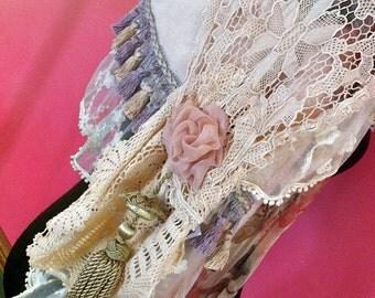Decadent Evening/Bridal wrap.Soft cream velvety faux-fur & floral silk.Large vintage tassels,Italian tassel braid,vintage laces , silk roses
