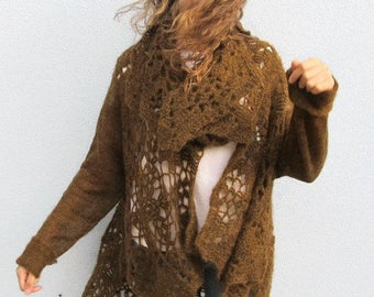 Draped Crochet Long Sleeves Wool Cardigan Plus Size Woman SPICED BROWN Sweater Cover Up