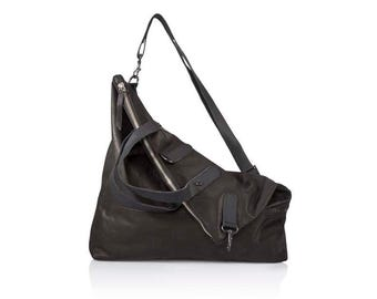 Black Leather crossbody bag- Convertible soft Leather bag SALE black leather messenger bag - Women's Leather Backpack- leather Rucksack