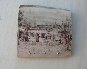 Pyrography - Woodburning - Old Shack on Olive Wood - Key Holder
