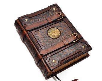 Brown leather journal Pentagram - Medieval style, Book of Shadows, Aged paper journal, Book of spells, necronomicon leather