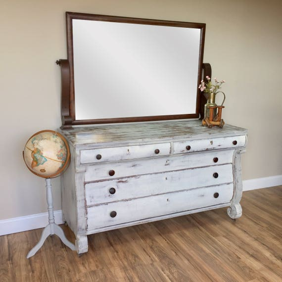 Large White Dresser - Shabby Chic Furniture - Antique Dressing Table - Farmhouse Dresser - Empire Furniture - Vintage Furniture - Foyer