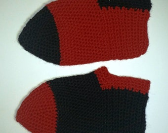 Slippers - Red and black - EUR size 38-40 - Handmade