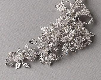 Floral Bridal Hair Clip, Bridal Hair Accessories, Rhinestone Bridal Clip, Floral Ribbon Bridal Clip, Rhinestone Wedding Hair Clip ~TC-2273