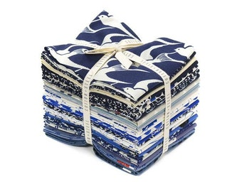 Cotton and Steel/Bluebird, Blue and White, Fat Quarter Bundle/Bird, Flower, Octopus/23 Fabrics/Sewing Material/Quilting, Clothing, Craft/