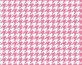 Houndstooth Fabric Basic - Riley Blake, Pink and White - Quilting, Clothing, Craft - Cotton Yardage - Fat Quarter, Half, By The Yard
