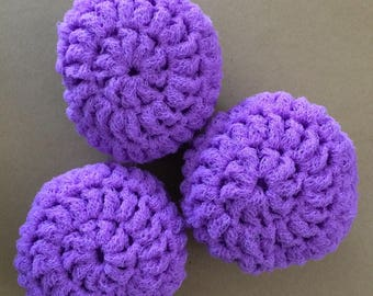 Nylon Net Scrubbies - Lilac - Set of 3 Scrubbers