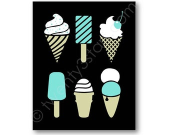 Modern Ice Cream and Popsicle Art Canvas or Print, Choose Any Colors, Kitchen Art, Cute Coordinating Kitchen or Bakery Art, Fun Summer Art