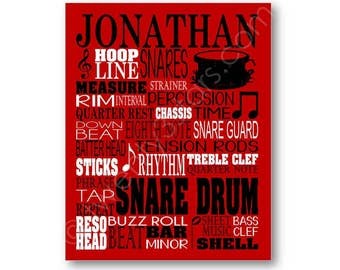 Snare Drums Typography Canvas or Art Print, Choose Any Colors, Gift for Music Lover or Drummer, Snare Drum Band Typography Wall Art