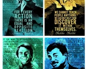 40% OFF WOW Science Poster Series featuring Carl Sagan, Neil DeGrasse Tyson, Galileo Galilei and Isaac Newton Set of 4