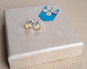Yellow Studs, Yellow Earrings, Citrine Stud Earrings, Citrine earrings,