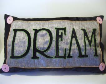 DREAM Pillow Cover, Graduation Pillow Gift,  Upcycled Pillow, Dorm Decor, Home Decor, Home and Living, Pillow Cover, Black Velvet, Silver