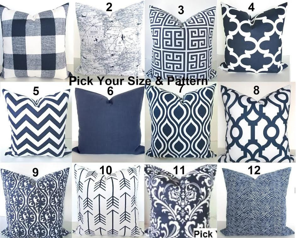 Etsy Navy Throw Pillow : Blue Pillows Blue Throw Pillows Navy Blue Decorative Pillow Covers Dark Blue Throw Pillow Covers ...