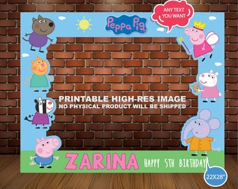 PEPPA PIG PHOTOBOOTH Frame, Photo Booht, Peppa Pig Photo Props, Party decor