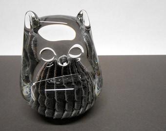 Owl Art Glass Figurine Paperweight FM Konstglas Ronneby Sweden Vintage