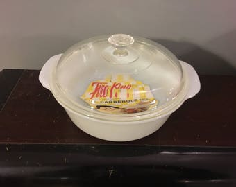 "1940s Vintage 1950s Fire King White 8 1/4"" 2 Qt New Old Stock Lidded Covered Casserole Glass Ovenware Dish With Original Label Insert"