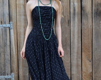 Vintage Adini dress, curvy bombshell Indian cotton gauze 70's 80's boned, teen small size party boho dress grunge black white spotted