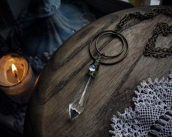 Thranduil ⊽ french antique glass crystal prism necklace