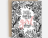 I Get By With A Little Help From My Girl Friends - Valentine's Cards - Galentine's Card - Illustrated Art - Greeting Card - Love