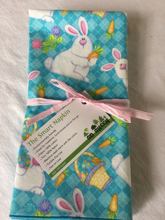 Easter Napkin Blue Bunny All Cotton Cloth 18x18 Dinner Napkin by Smartkin