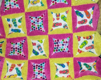 Chenille Baby Quilt, Beach Baby Quilt, Baby Girl Quilt, Cathedral Window Quilt, Flip Flop Quilt, READY TO SHIP