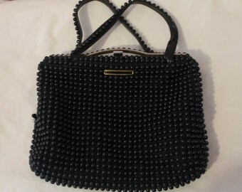 Vintage 1950's Mid-Century Mod Black Beaded Handbag Purse