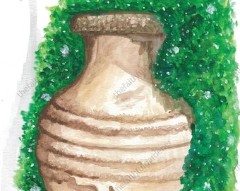 Brown Pot with Ivy Watercolor Original Painting