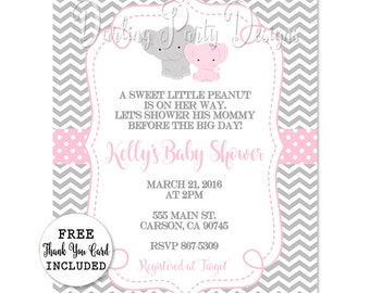 Elephant Baby Shower Invitation, Elephant Invitation, Elephant Baby Shower, Girls Elephant Baby Shower, Elephant Invite