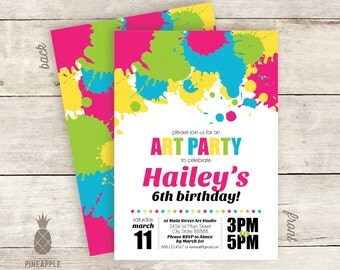 Art-Themed Birthday Party Invitations