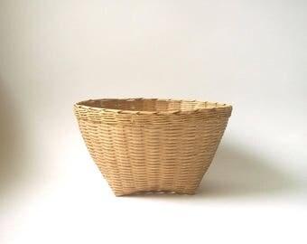 woven basket, natural decor, basket storage, rustic vintage basket