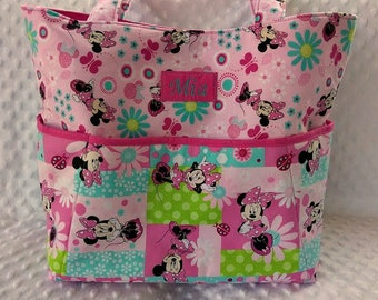 Diaper Bag or Set in Pink Minnie Mouse with Changing Pad and Decorated Diaper Wipes Case, Large Diaper Bag Set. Minnie Mouse Diaper Bag