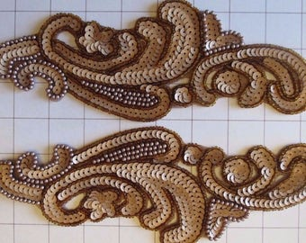Pair of Mirrored Brown and Beige Beaded Appliques Sew on (C-11)