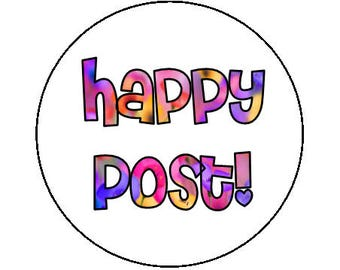 Happy post stickers - 35mm