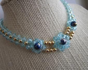 Beaded Choker - blue bead choker - choker jewelry - necklace jewelry - beaded chokers jewelry - flower beads chokers - necklace chokers