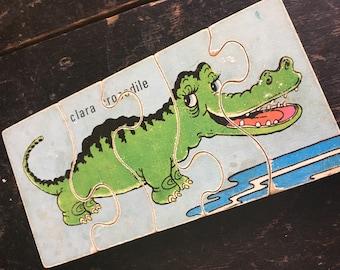 1960's vintage chunky wooden jigsaw puzzle Clara Crocodile