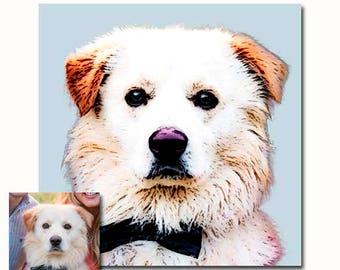 Custom Pet portrait with a twist of Pop Art - natural colors - digital