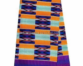 Kente fabric / Kente Scarf / Kente stole/ Kente cloth / African Fabric /Ankara print/ blue/orange / 6 yards KF249